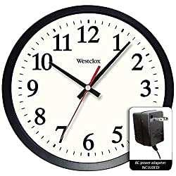 Westclox 14 Round Electric Powered Office Wall Clock, White