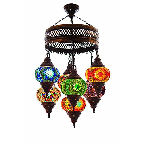 Turkish Authentic 7 Globe Mosaic Chandelier Mosaic Lamp Moroccan Lantern
