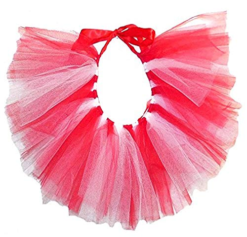 PAWPATU Team Spirit Tulle Tutu for X-Large Dogs, Handcrafted in USA, Red and White