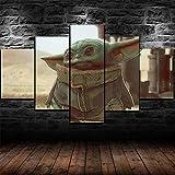 Cuadro En Lienzo Decoracion 5 Piezas Hd Imagen Impresiones En Lienzo Baby Yoda Star Wars Series Character Poster Lienzo Grandes Xxl Murales Pared 5 Paneles De Pinturas De Obras De Arte Moderno