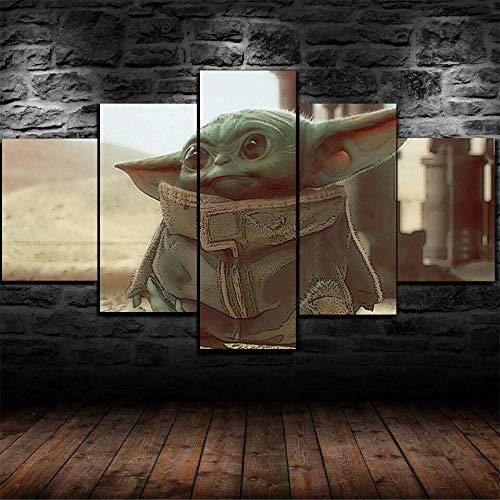 baixiangguo Personaje De Baby Yoda Star Wars Cuadros Lienzo Sala De Estar 5 Pintura Impresa De Alta Definición Decoración De Pared Lienzo Impreso, Póster Modular Decoración Mural-100 x 55 cm