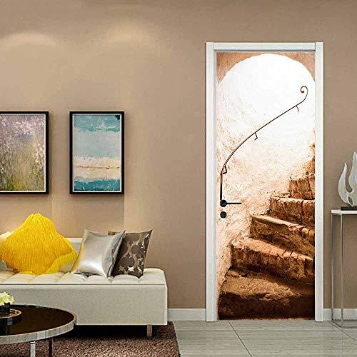 Pegatinas de puerta autoadhesivas de bricolaje, extraíbles, vinilo, pegatinas de pared de arte, decoración del hogar del hotel de guardería, escaleras de suelo