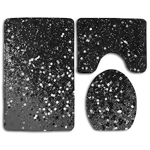 Dark Gray Black Lady Glitter Soft Comfort Flannel Bathroom Mats,Non Slip Absorbent Toilet Seat Cover Bath Mat Lid Cover,3pcs/Set Carpet Rugs