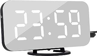 "KeyZone 6.5"" Digital Alarm Clock, Mirror Surface Clock with Dual USB Port for Bedroom, Living Room (White)"