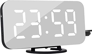 "KeyZone 6.5"" Digital Alarm Clock, Mirror Surface Clock with Dual USB Port for Bedroom, Living Room (White)"