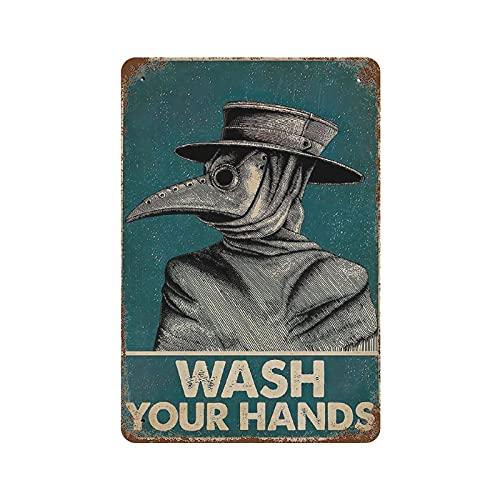 xbdesigins Vintage tin Sign,Wash Your Hand Plague Doctor Wall Art Plague Doctor Art Print Plague Doctor Wall Decor,Home Decor/Lover Gifts/Wall Decor/Guest Wall Decor Art Sign8 X 12' Inches