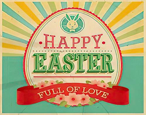 Y·JIANG Pintura vintage por números, huevo de Pascua de huevo de conejo, linda cinta, lienzo acrílico, pintura al óleo por números, para adultos y niños, decoración de pared, 40,6 x 50,8 cm