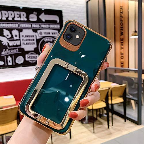Estuche de teléfono de Soporte Cuadrado de Metal galvanizado de Lujo para iPhone 11 12 Pro X XR XS MAX 7 8 Plus Funda Suave Sexy de Moda, 4, para iPhone XR