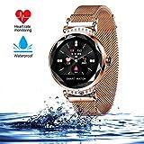 wetwgvsa Smartwatch für Damen Fitness Armband H2 Uhr Wasserdicht mit Herzfrequenz Blutdruck Pulsmesser Farbbildschirm Aktivitätstracker Schlafmonitor Schrittzähler für IOS Android