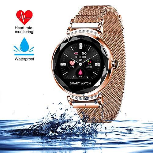 AGKupel Smartwatch für Damen Fitness Armband H2 Uhr Wasserdicht mit Herzfrequenz Blutdruck Pulsmesser Farbbildschirm Aktivitätstracker Schlafmonitor Schrittzähler für IOS Android (Gold) (Gold)