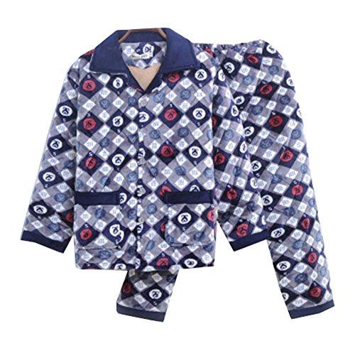 Dragon Troops Sistema de Pijama de Terciopelo de Franela de Invierno Espesada de los Hombres del Invierno, salónwear y Ropa de Dormir, A5