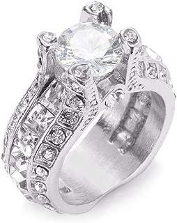 Desirepath 925 Sterling Silver Ring, Cubic Zirconia CZ Diamond Elegant Eternity Engagement Wedding Band Ring