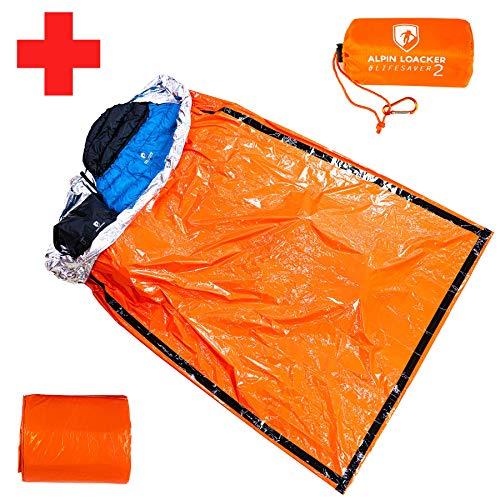 Alpin Loacker | Life Saver Pro | 2 Personen Rettungsdecke, Biwaksack, Notfalldecke für Outdoor und Bergsport