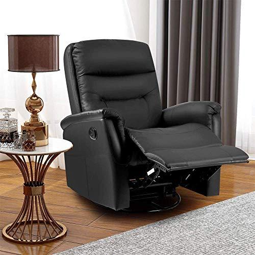 LIFE CARVER 360° Swivel Leather Recliner Armchair Reclining Sofa Padded Ergonomic Comfort Manual Reclining Chair Rocking Chair Lounge Chair