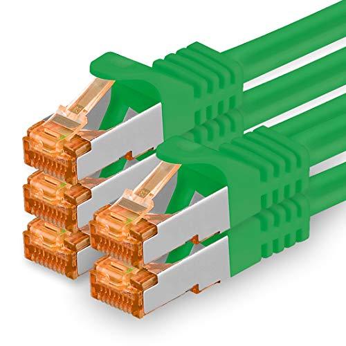 1aTTack.de Cat.7 Cavo di Rete 7,5m - Verde - 5 Pezzi - Ethernet LAN Cat7 Cat 7 SFTP Spina RJ45 Cat6a 10 Gbit s Compatibile con Cat5 Cat6 Cat6a Cat8 per Switch Router Modem Patchpanel