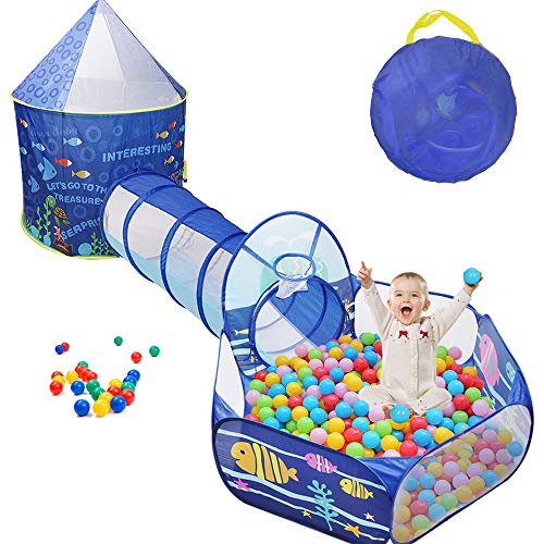 Sunba Youth Kids Play Tent, Crawl Tunnel and Ball Pit, Pop Up Playhouse for Girls and Boys, Babies...