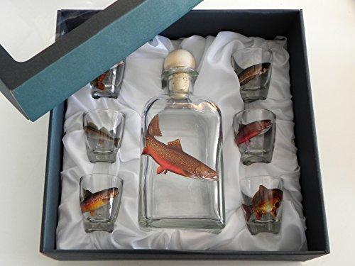 GTK - Geweihe & Trophäen KRUMHOLZ 7-teiliges Schnaps Gläser Set mit Fisch Motive + Karaffe mit LACHS