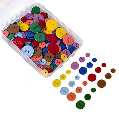 200 pezzi Bottoni di Resina 2 fori per Cucito fai da te Decorativo 10mm/15mm/20mm,8 Colori