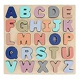 Garosa Rompecabezas de números de Letras de Madera para niños, Alfabeto ABC, Letras mayúsculas y números, Tablero de Aprendizaje Montessori de Madera, Juguetes educativos(Letter)