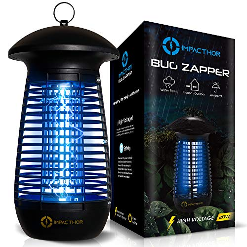Impacthor Bug Zapper Electric Insect Killer Effective 4000V Grid 20W Waterproof for Mosquito, Fly, Fruit Flies, Moth & More Flying Insects Indoor & Outdoor [Strongest Newest 2021]