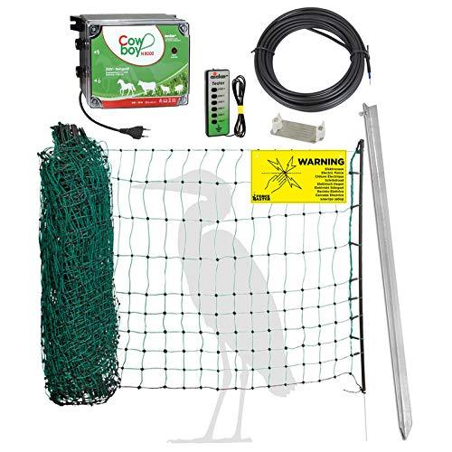 Komplettset Elektrozaun Garten & Teichschutz, mit 50m Netz und 230 Volt Weidezaungerät - Schutz vor Reiher, Fischotter, Waschbär, Dachs