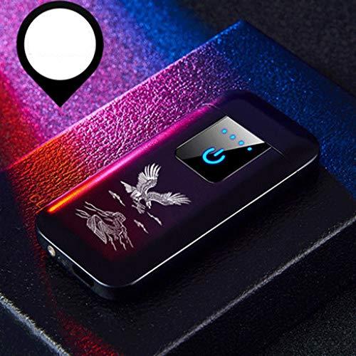 Zenghh Carga USB Encendedor A Prueba de Viento Detección de Huellas Dactilares Doble Arco Tendencia Luz LED De Gama Alta Creativa Gran exposición Hombres y Mujeres Personalidad Regalo de cumpleaños