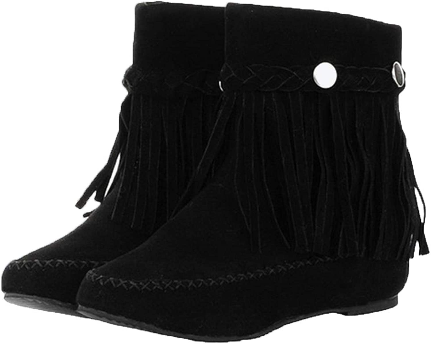 Jim Hugh Women Fringed Mid Calf Boots Fashion Winter Warm Faux Suede Slip On Snow Boots