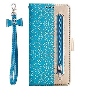 Lomogo Galaxy S9 Hülle Leder, Schutzhülle Brieftasche mit Kartenfach Klappbar Magnetisch Stoßfest Handyhülle Case für Samsung Galaxy S9/G960F – LOHHA120208 Blau