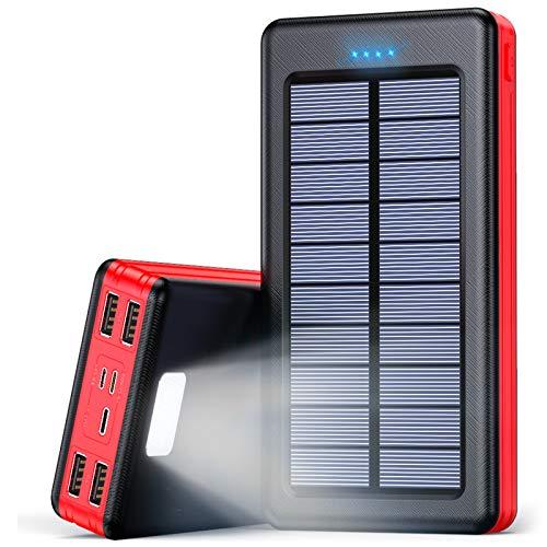 Solar Powerbank 30000mAh Externer Akku, Solar Ladegerät mit LED Licht, 4 Ausgänge und 3 Eingangswege, Handy Ladegerät Power Bank für Smartphones, Tablets und mehr