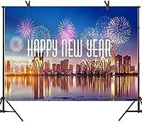 Zhy 7X5FT新年あけましておめでとうございます背景夜の鮮やかな花火大晦日の写真のお祝いパーティーのバナー家族の友人の写真ブース524