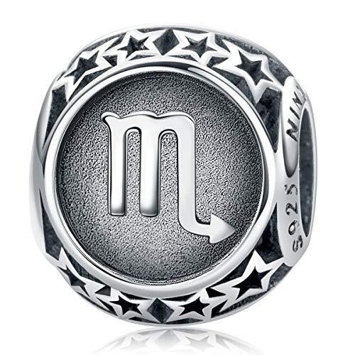 NINAQUEEN Charm für Pandora Charms Armband Skorpion Sternzeichen Geschenk für Frauen Silber 925 Zirkonia Schmuck Damen mit Schmuckkasten
