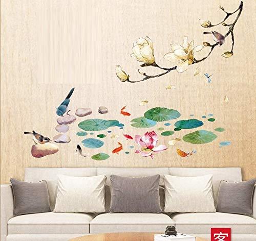 HALLOBO® Wandtattoo XXL Magnolie Magnolia Lotus in Teich Lotus Blatt Fisch Wandaufkleber Wandsticker Wohnzimmer Schlafzimmer Deco Wall Sticker