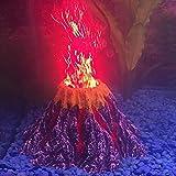 Better F Kit de adorno de volcán de acuario con foco LED rojo
