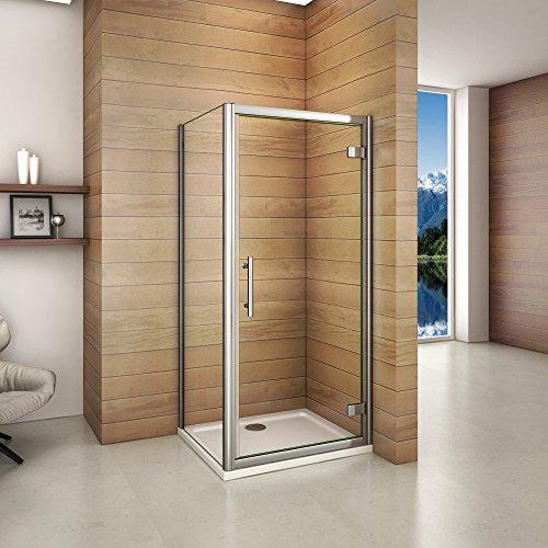 Cabine de douche 80x80x185cm porte de pivotante avec...
