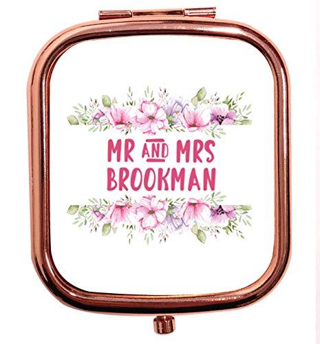 Flox Creative Miroir carré carré avec motif floral rose personnalisable