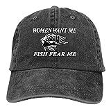 Siuwud Women Want Me Fish Fear Me Washed Baseball Cap Trucker Hat Adult Unisex Adjustable Dad Hat (Black)