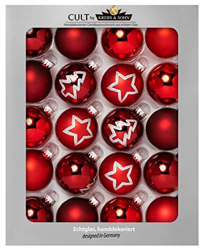 Krebs & Sohn 20er Set Glas Christbaumkugeln-Weihnachtsbaum Deko zum Aufhängen-Weihnachtskugeln 5,7 cm-Bordeaux, Rot/Sterne, (5,7cm Ø Durchmesser)
