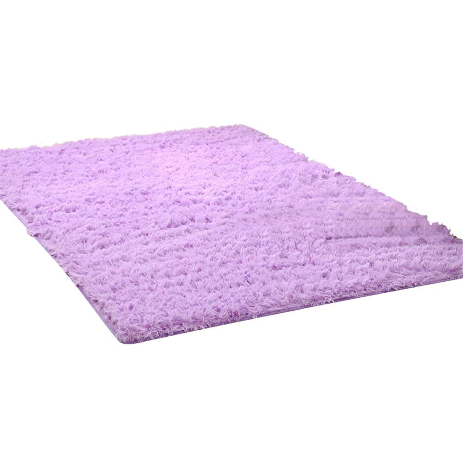 英語の授業がありますありそう川Kikon 洗える ラグマット カーペット オールシーズン シャギーラグ 絨毯 滑り止め付 冬用 夏用 防ダニ 抗菌 防臭 床暖房対応 (パープル, 50×80cm)