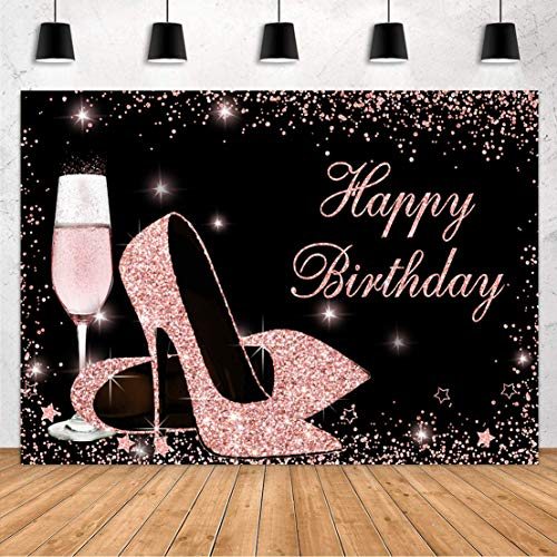 Sensfun Glitter Rose Gold Happy Birthday Backdrop Sparkle Sequin High Heels Champagne Glass Photography Background for Adult Women Birthday Party Decorations Banner Photo Booth Backdrops 7x5ft