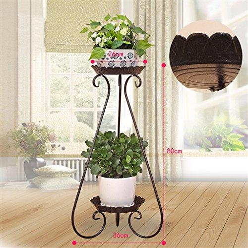 DHMHJH Soporte de flores Hierro europeo, 2 plantas, jardín, balcón, macetero de planta de sala de estar, expositor de bonsái de bonsai de múltiples capas (Color : Brass, Tamaño : 80cm)