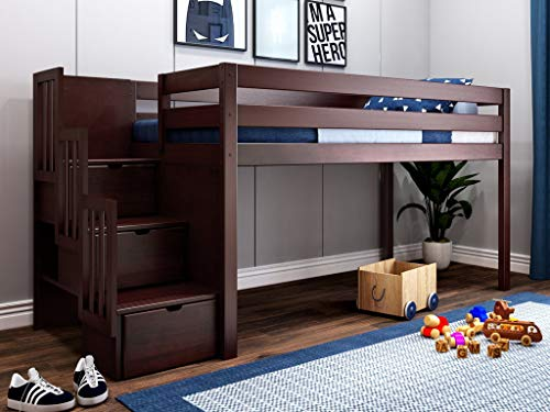 JACKPOT! JP-ST Cherry Contemporary Low Twin Stairway, Loft Bed