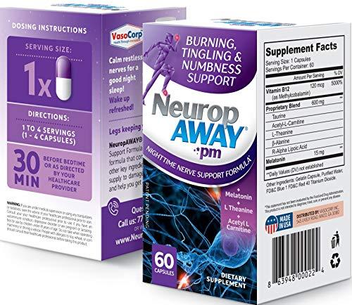 VasoCorp NeuropAWAY Neurop Pain Relief | 60 Capsules Night Nerve Pain Relief and neurop Pain Relief for feet, neurop Treatment for Burning Numbness Pain in Legs and feet Vitamin Supplement