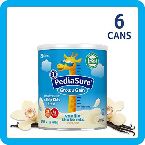 PediaSure Grow & Gain Non-GMO Shake Mix Powder, Nutritional Shake For Kids, With Protein, DHA, Antioxidants, and Vitamins & Minerals, Vanilla, 14.1 oz, 6 Count