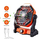Portable Camping Fan with LED Lights, USB Rechargeable Personal Fan for Desk, AdjustableTent Fan for Outdoor, Home, Office,...
