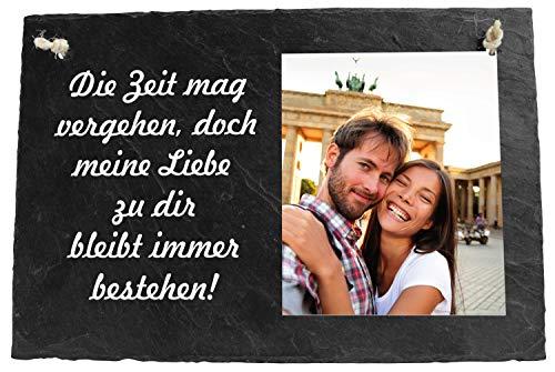 wandmotiv24 Schieferplatte Spruch Die Zeit, 30x20cm, personalisiertes Foto, Schiefertafel zum aufhängen, Geschenke zur Hochzeit, Valentinstag, Jahrestag, Geschenkidee für Sie und Ihn, Liebe M0091
