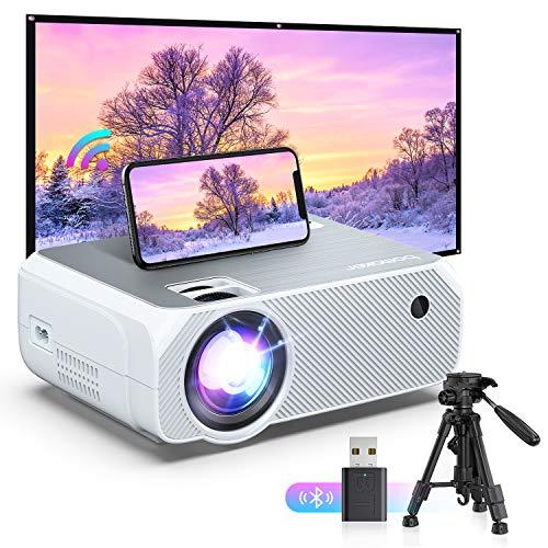 Bomaker Mini Beamer WiFi, 6000 tragbarer Heimkino Beamer, 1080P Full HD Support mit 300'' Display, kompatibel mit TV Stick, PS4, HDMI, AV, VGA, USB , X-Box, Smartphone Gaming -Projektor