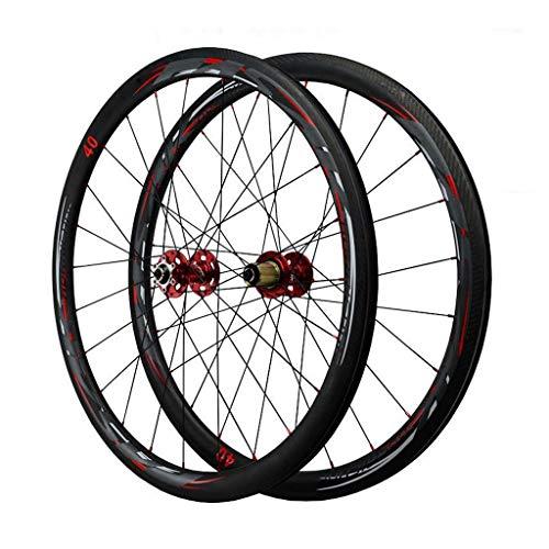 LvTu Bicicleta de Carretera Fibra de Carbon Juego de Ruedas 700C, Anillo Gordo Freno de Disco Ruedas, Rueda Delantera - 835g / Rueda Trasera - 925g (Size : 55mm)
