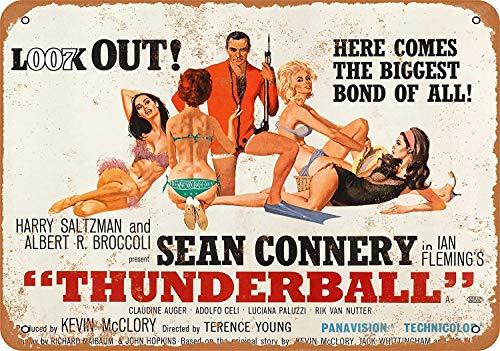 Treasun 1965 James Bond Thunderball 12 X 8 Inches Retro Metal Tin Sign - Vintage Art Poster Plaque