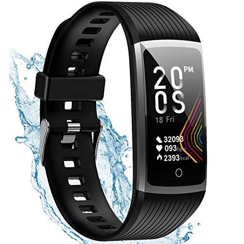 Fitness Tracker with Heart Rate, Activity Tracker Watch Steps Calorie Counter Smartwatch, Waterproof Smart Fitness Band, Pedometer Watch for Men and Women and Kids (Black)