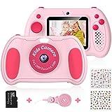Hommie Macchina Fotografica Bambini con Schermo 2,4 Camera per Bambini Inlcude 32 GB con Speedlite, Macchina Gotografica Bambini con Selfie Videocamera, Regalo per Bambini 3-10 Anni, Rosa